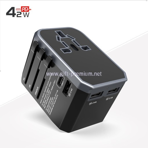 Type C + 3 USB Travel Adapter (Fused)