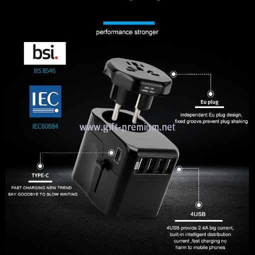 1 Type C + 4 USB Travel Adapter (Fused)